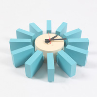 Blue Wall Clock Metal Wooden Fashion Sun Shape Watch Furniture Decoration Adornment Crafts Modern Art Wall Clocks