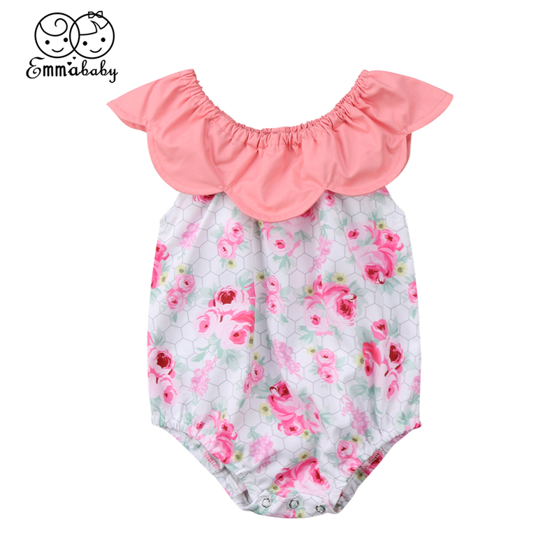 Newborn Baby Girls Clothing Cute Infant Girl Floral Short Sleeve Romper 2018 Newest Bebes Jumpsuit Playsuit Summer Romper Outfit