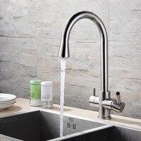 Оптовая продажа 100% латунь матовый Никель/хром 360 Поворотный 3 ходовой Кухня кран с водой фильтр для горячей и холодной вращения смеситель