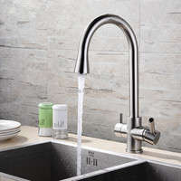Brushed Nickel Chrome 360 Rotation 3 Way Kitchen Tap With Water Filter Water Filter Tap For