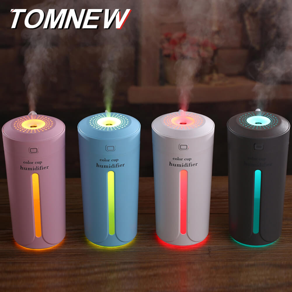 TOMNEW 230ML Cool Mist Humidifier USB Mini Portable Ultrasonic Two Gears Air Diffuser Freshener with LED Night Light in Home Car цена и фото