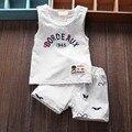 2015 desgaste do verão do bebê meninos crianças conjuntos de roupas crianças terno ocasional colete sem mangas tops t-shirt + shorts calças duas peças conjunto S1658