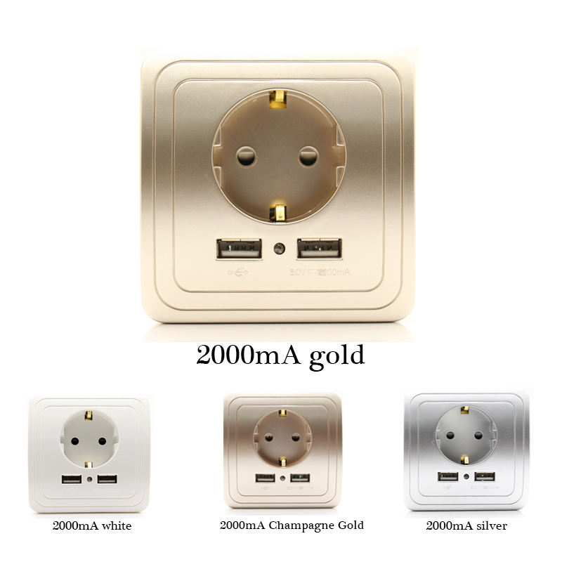 Socket with usb wall outlet 5V 2A Dual Wall Socket eu Ports Charger 16A 250V kitchen plug socket Electrical Outlet 15a 16a south africa socket and double ubs socket wallpad 146 86mm white glass 2 usb ports and 16a sa switched socket with led