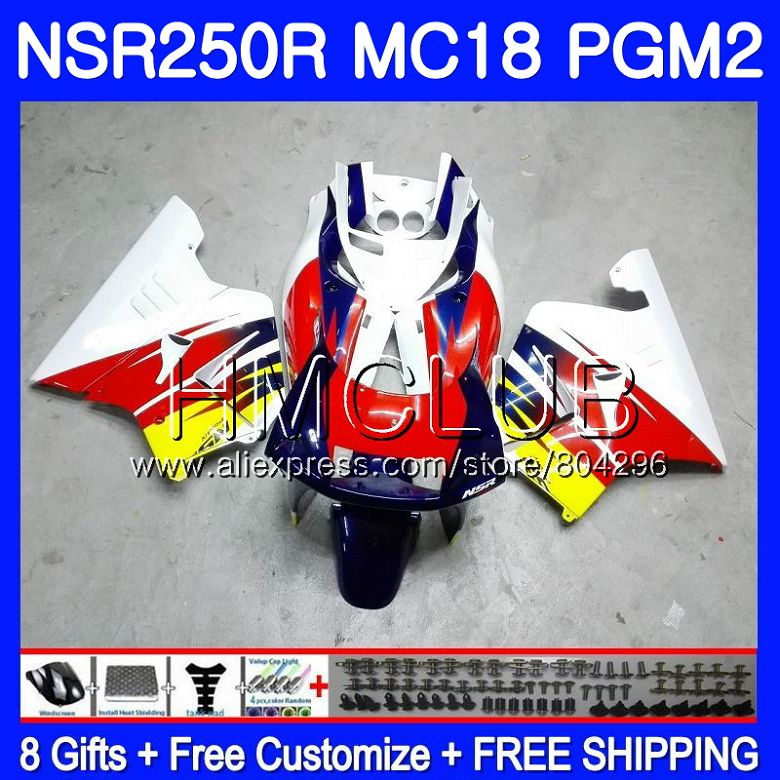 Kit For HONDA <font><b>NSR</b></font> <font><b>250</b></font> R MC18 PGM2 <font><b>NSR</b></font> 250R NS250 NSR250R 88 89 Blue white 93HM.10 NSR250 R RR NSR250RR 1988 1989 88 89 Fairing image