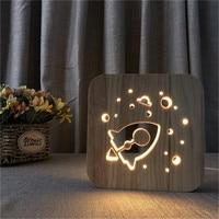 Rocket Wood Night Light Decor Nightlight USB Desk Table Lamp 3D Visual Bedroom Kid Wooden Decorative Novelty Lighting Drop Ship