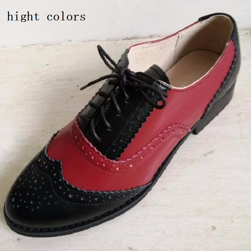 ФОТО New 19 Style Zapatos Hombre oxford Flats Shoes For Women Lace Up Color Block Decoration Genuine Leather Casual Brogue Shoes