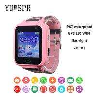 Kids tracker watch IP67 Waterproof SOS Wifi Location waterproof flashlight camera HD 1.44 Children clock T16