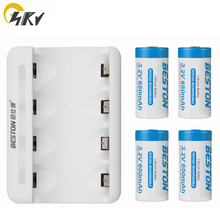 3.2V RCR123A 16340 LiFePO4 650mAh rechargeable Li-ion battery and USB charger