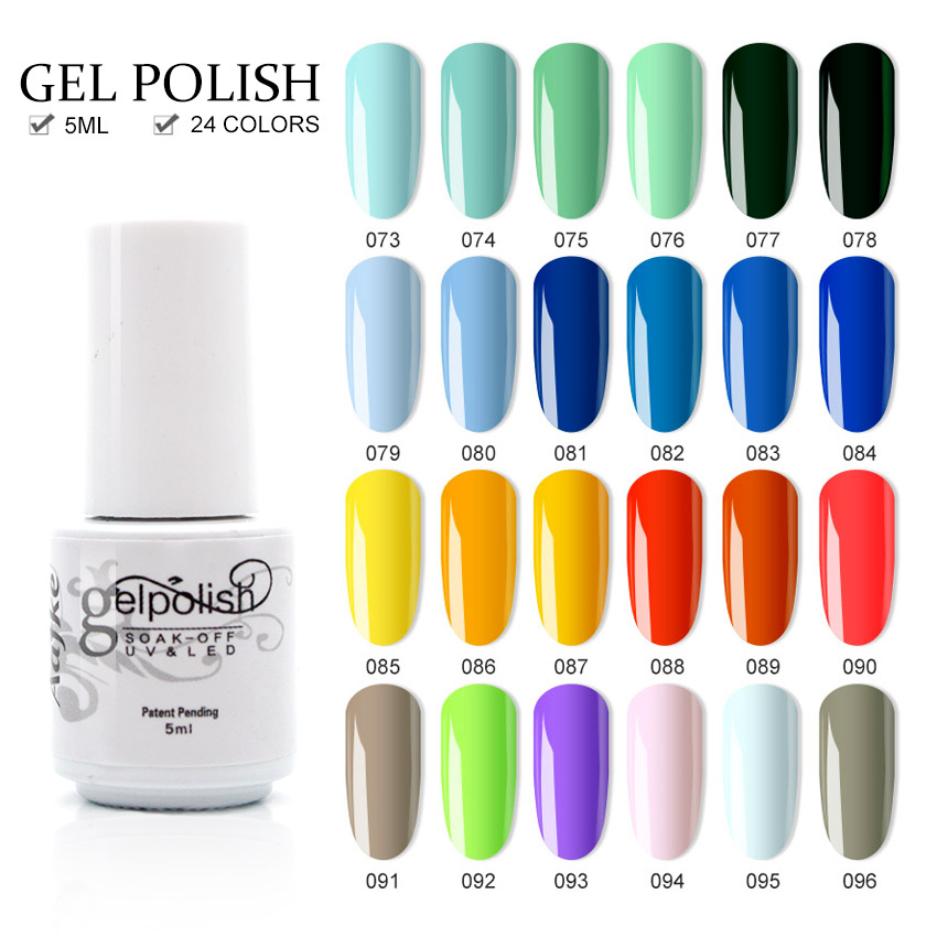 Aafke 24 Colors Soak Off Gel Polish UV Resin Varnish Nail Gel Polish 5ml UV Gel Nail Polish Lacquer Color Gel Lucky ZJJ011