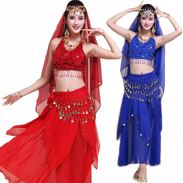 4pcs Set Performance Stage Coin Bellydance Costume Bollywood Costume Indian  Dress Bellydance Dress Women Belly Dancing Costume