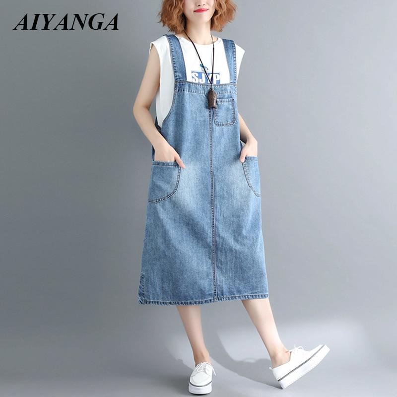 US $24.48 31% OFF|AIYANGA Plus Size Strap Denim Dress Women Spaghetti Strap  Dresses Medium Long Casual Jeans 2018 Summer Autumn Sleeveless Dress-in ...