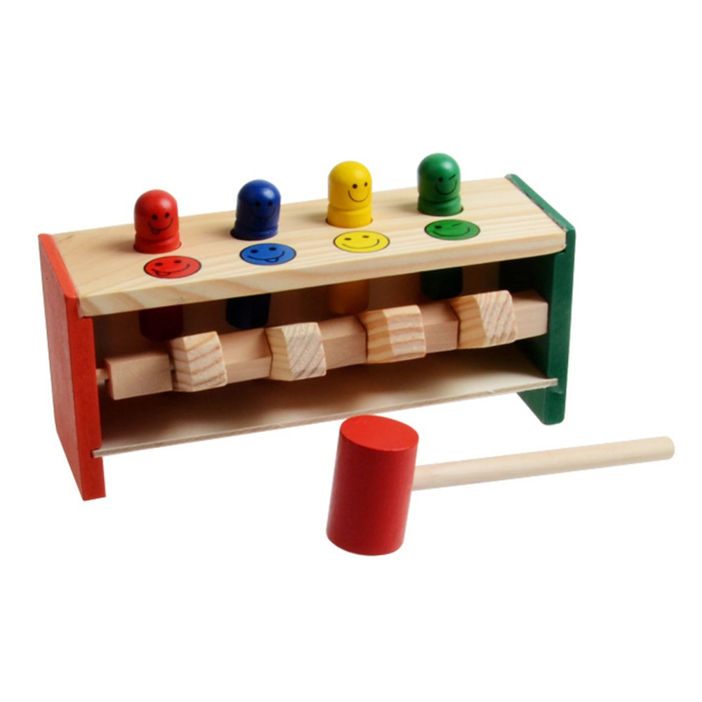 Baby Wooden Musical Toys Hammer Educational Wooden Hammer Toy Game Hammering Bench Musical Instrument Toys for Children