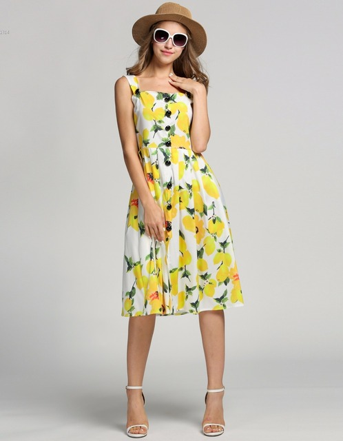 639a70785b8 Flower Printed Dresses Fashion Women Strap Lemon Print Single-breasted  Sleeveless Slim Pleated Midi Dress Well Plus Size vestido