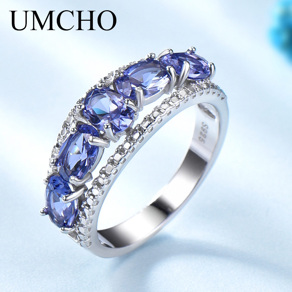UMCHO Created Oval Tanzanite Colorful Gemstone Jewelry 925 Sterling Silver Rings For Female Anniversary Gifts Fine Jewelry NewUMCHO Created Oval Tanzanite Colorful Gemstone Jewelry 925 Sterling Silver Rings For Female Anniversary Gifts Fine Jewelry New