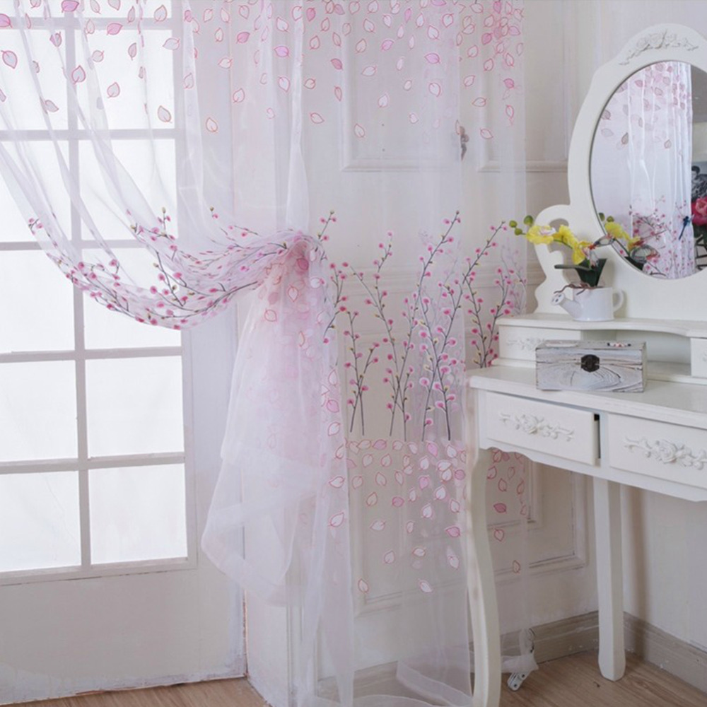 Sheer plum curtains - 1pc Decorative Window Curtain Plum Blossom Transparent Sheer Tulle Voile Fabric Curtains Living Room Screening