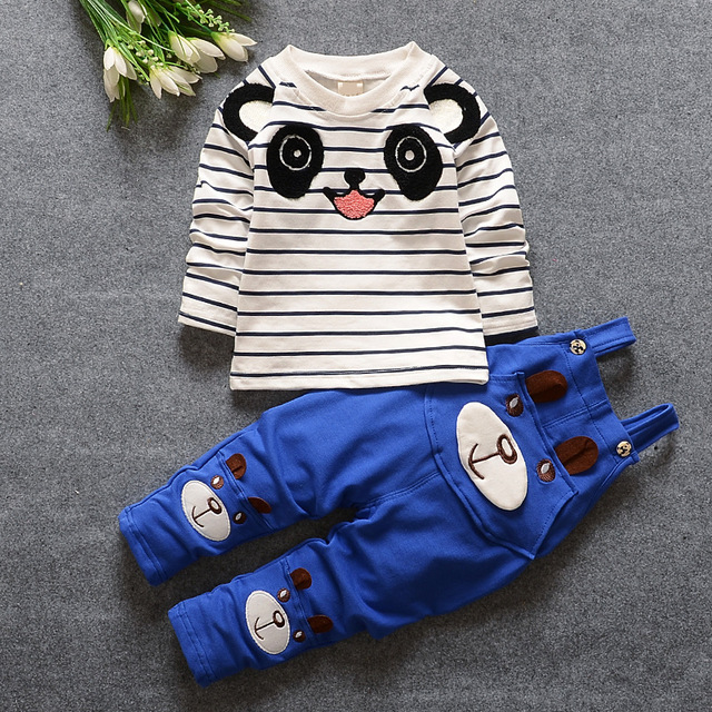 New Arrival Baby Embroidered Panda Suit Boy Clothes Kid Overalls + Baby Shirt 2Pcs/Set Baby Boy Suit Made Of Cotton/ Sport Set