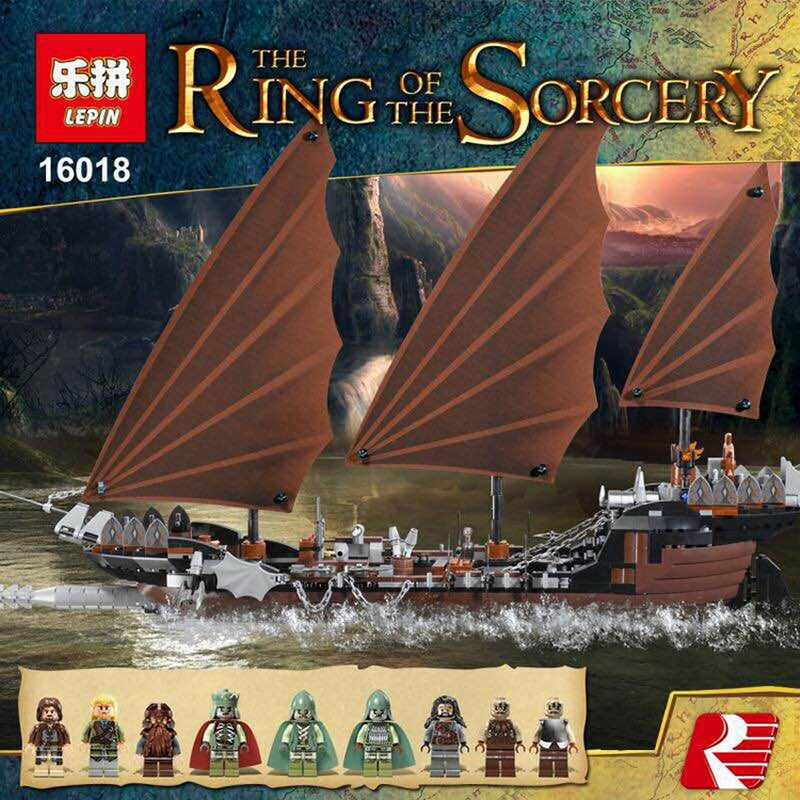756Pcs Brand Compatible Lord Of The Rings Boat Figures Building Blocks Pirate Ship Ambush Brick Toys for Children Christmas Gift lepin 16018 756pcs genuine the lord of rings series the ghost pirate ship set building block brick toys compatible legoed 79008