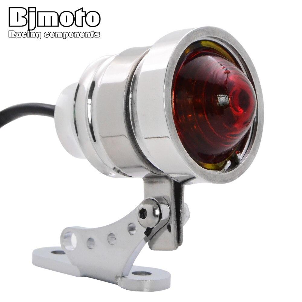 BJMOTO мотоциклетный задний фонарь Тормозные огни алюминиевый хромированный корпус Красные линзы для мотокросса указатель поворота Кронштей