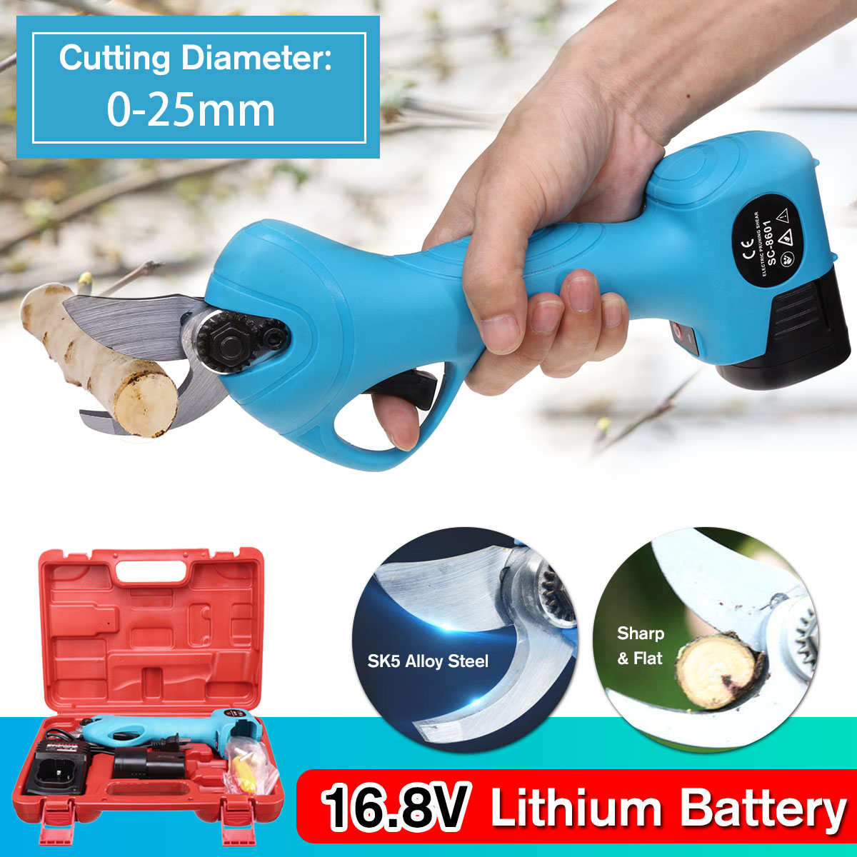 16 8V Li ion Battery Rechargeable Electric Cordless Secateur Branch Cutter Pruning Shears for Sharp Cutting