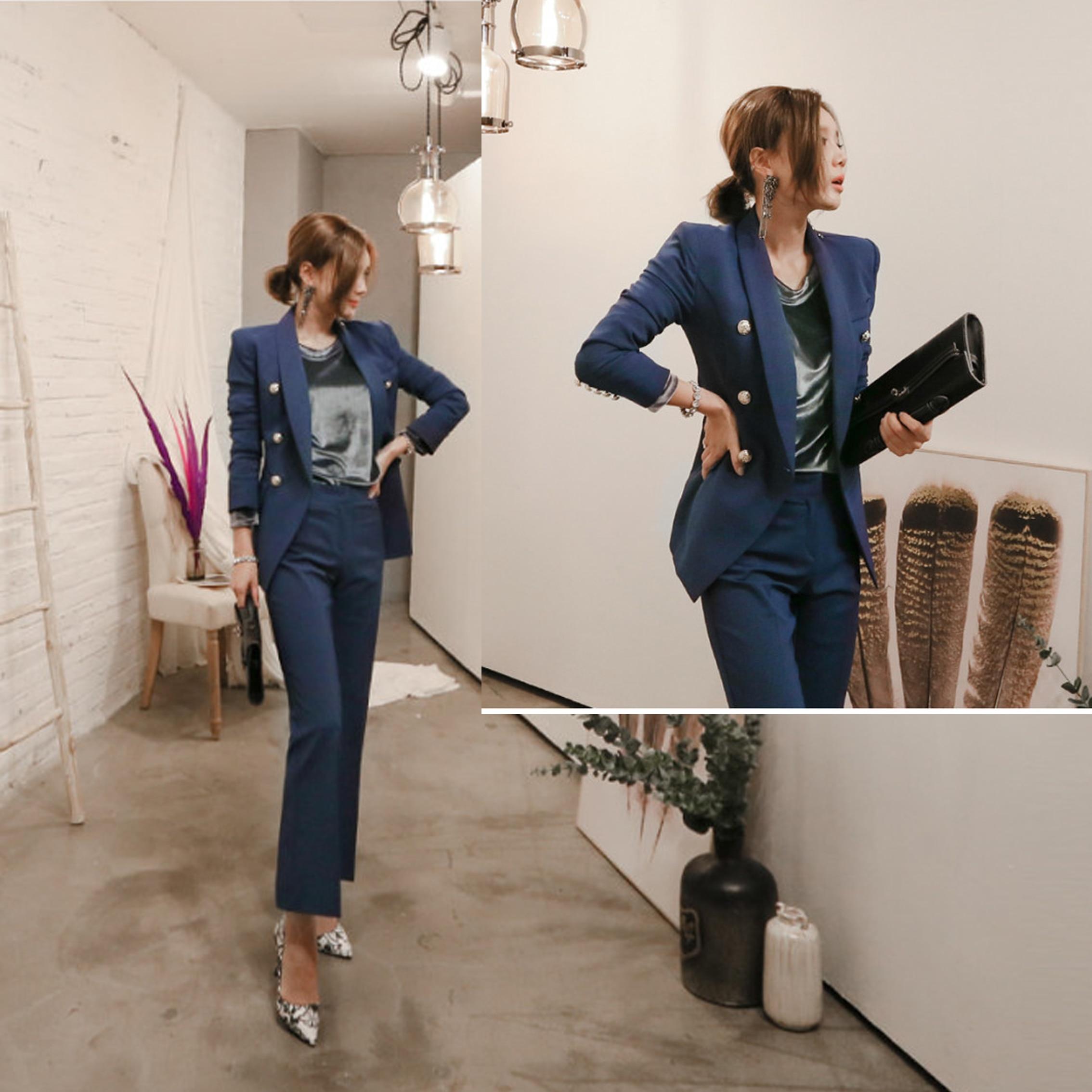1 Nouveau Femmes Style Pure Mince Ol Costume 2 Femelle Dames Pantalon Professionnels pièce Couleur De Tempérament Uniformes Évasée Bureau qSFTHxS