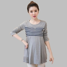2016 Korean Large size Woman Dress Casual Long-sleeved Striped Dress Shirt Fashion Medium-long Sweater Slim Bottoming M-XL AB33