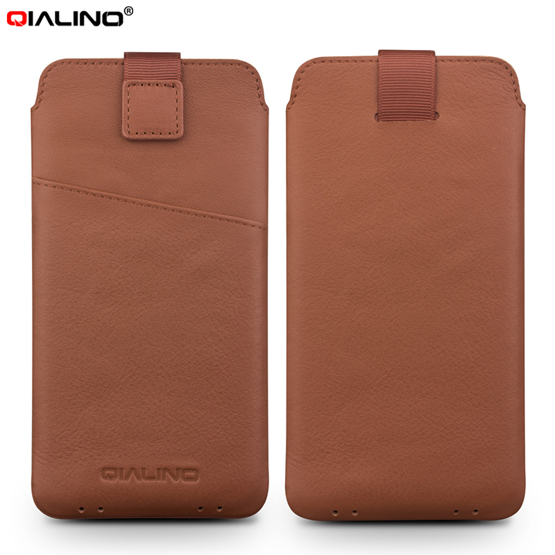 For iPhone 7 Plus 5.5 inch Pouches & Bags QIALINO Genuine Leather Card Slot Pouch for iPhone 7 Plus, Size: 160 x 83mm – Brown