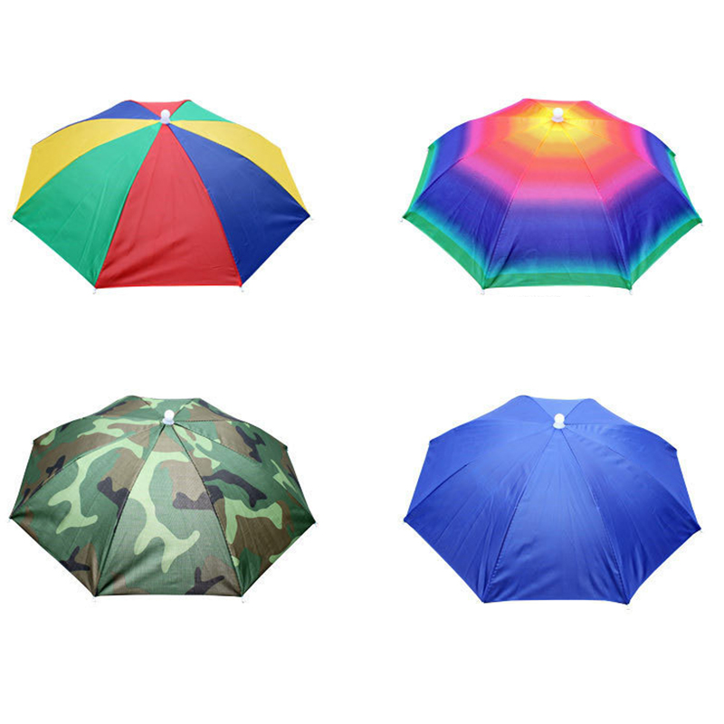 1pc Umbrella Hat Waterproof Outdoor Camping Hiking Fishing Foldable Cap