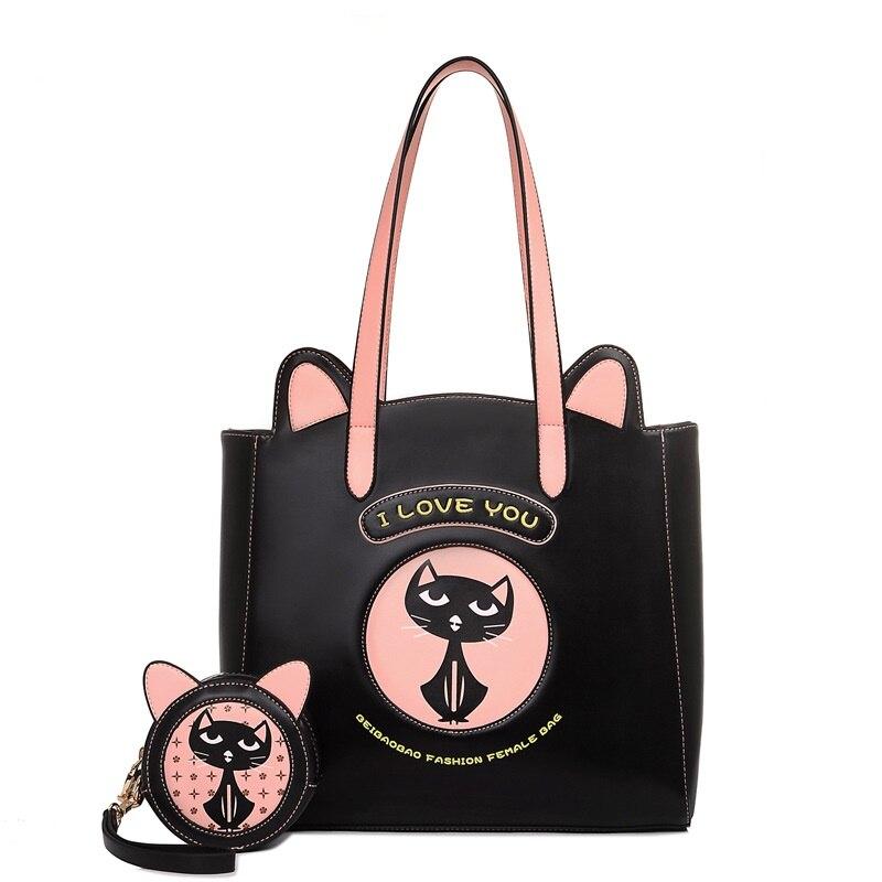 ФОТО Famous Brand Cat bag Cartoon Printing Women Leather Handbags Ladies Shoulder Crossbody Bag Composite Bag Casual Totes Bolsas