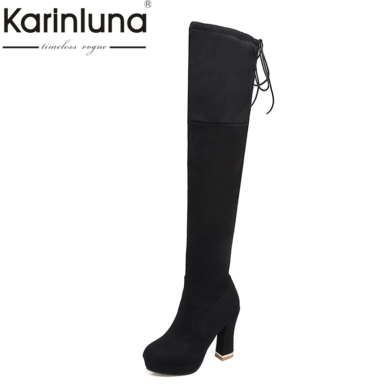 KARINLUNA 2018 Plus Size 32-48 Over The Knee Boots Super High Heels Women Shoes Woman Sexy Winter Boots Party Chaussure все цены