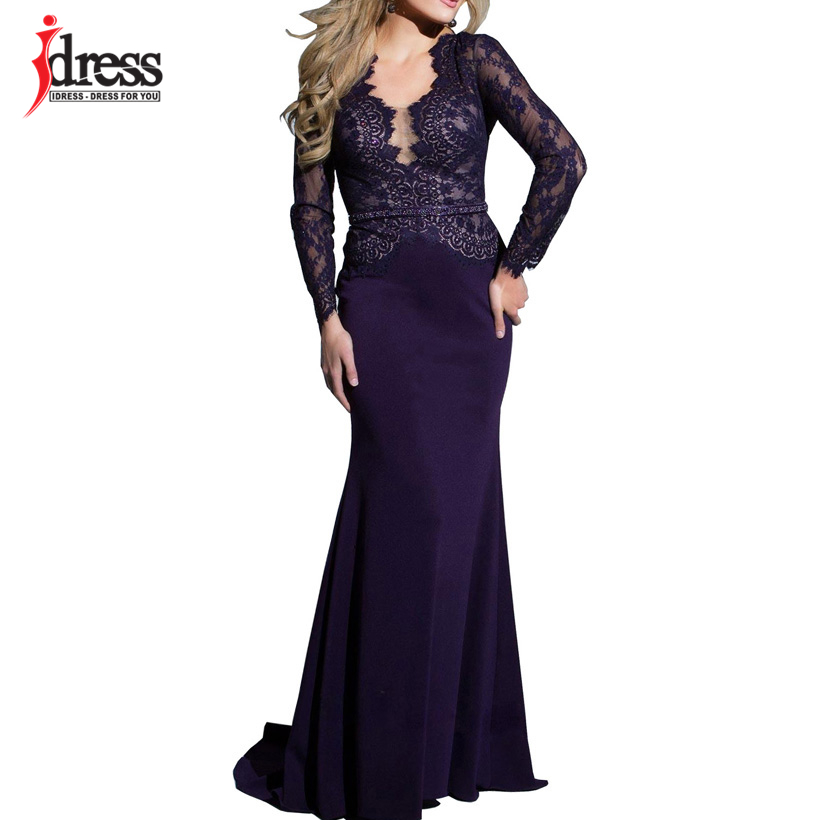 IDress New Sexy Lace Vintage Mermaid Elegant Long Maxi Dress Formal Party Women Gown Special Occasion Dresses 2018 Vestido Longo (7)