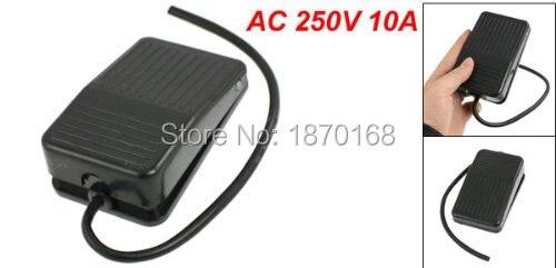 TFS-1 AC 250V 10A SPDT NO NC Nonslip kekuasaan sesaat kaki Pedal saklar hitam