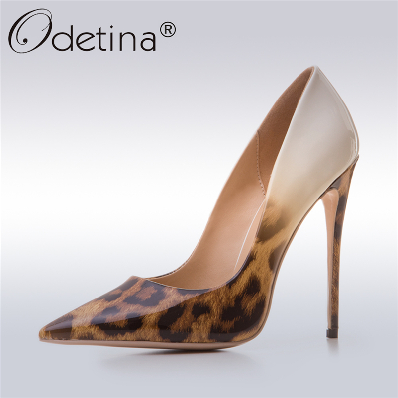 Odetina 2017 New Designer Ladies Leopard High Heels 12CM Sexy Pumps Women Party Shoes Stiletto Pointed-toe Fashion Big Size 43 odetina 2017 new women 12 cm gradient heels slip on extreme high heel stiletto pumps sexy party shoes pointed toe big size 33 43