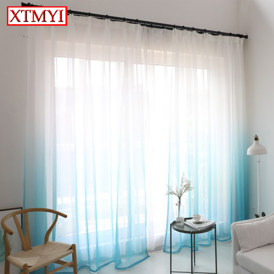 Modern tulle curtains for living room Brownblue bedroom voile window curtains Drapes Custom Made