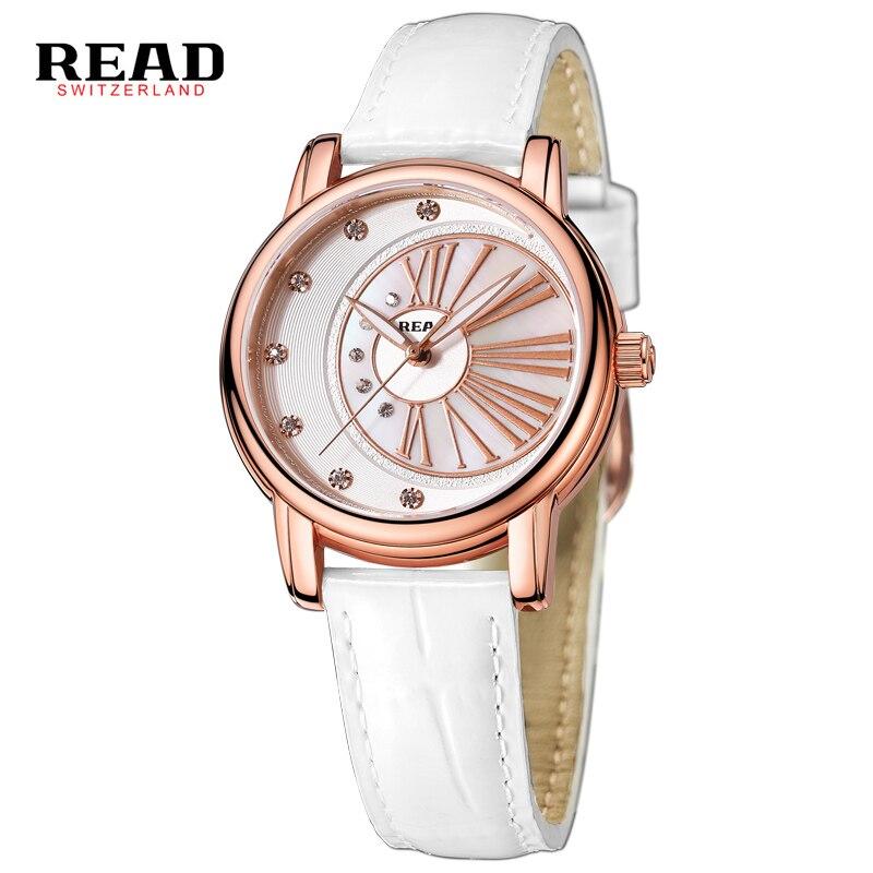 READ 2017 Rhinestones Scratch resistance white real white strap leather watches women wrist fashion relogios femininos 6083 L53