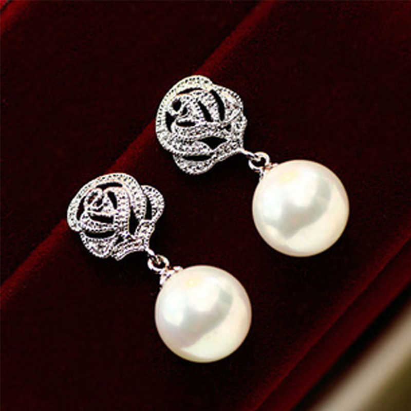 1Pair Pearl Earrings Crystal Rose Flower Classic Luxury Wedding Earrings Charm Elegant Eardrop For Women Engagement Gift