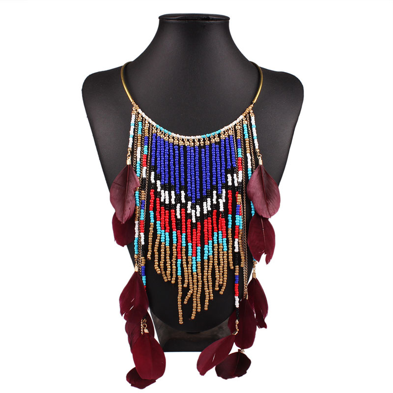 bohemian necklace 2016 feather necklace collares etnicos bohemios beads tassel necklace collier torque indian style necklace