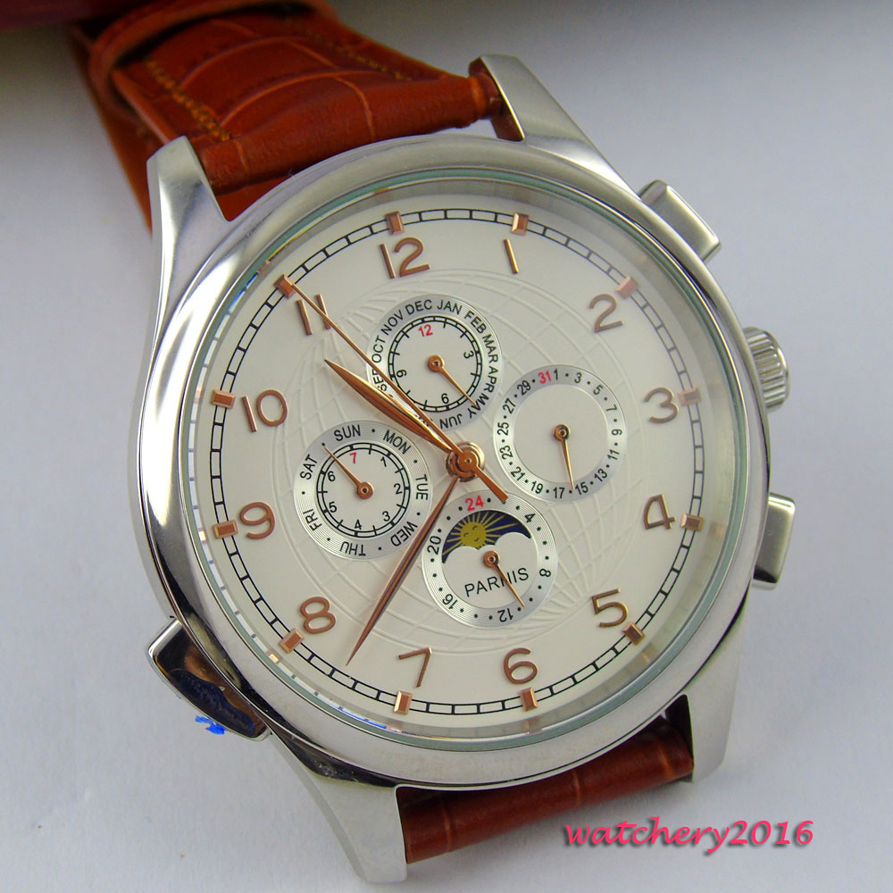 Hot 44mm parnis White Dial Golden Plated Marks Moon Phase SS Case Brown Multifunctio Leather Strap Automatic Movement Mens Watch newest 44mm parnis white dial moon phase complete calendar golden plated case automatic self wind movement men s wristwatches