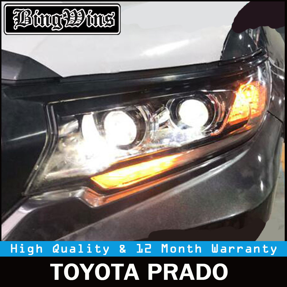 1 set For Land Cruiser Prado Front Headlights for Toyota Prado LC200 2018 headlight headlamp LED DRL Bi Xenon Moving Turning hireno headlamp for 2003 2009 toyota land cruiser prado headlight assembly led drl angel lens double beam hid xenon 2pcs