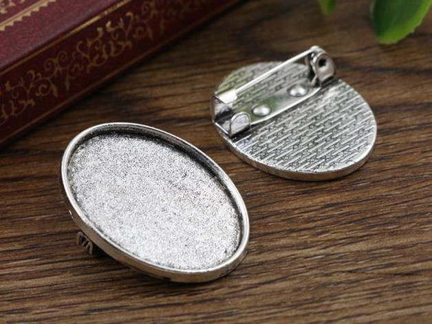 3pcs 18x25mm Inner Size Antique Silver Brooch Pin Classic Style Cameo Cabochon Base Setting (C1-37) anime style feather pattern zinc alloy brooch pin blue white silver