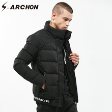S.ARCHON Winter Windbreaker Warm Parka Jackets Men Casual Stand Collar Cotton Padded Jackets Coat Male Thermal Thicken Clothing