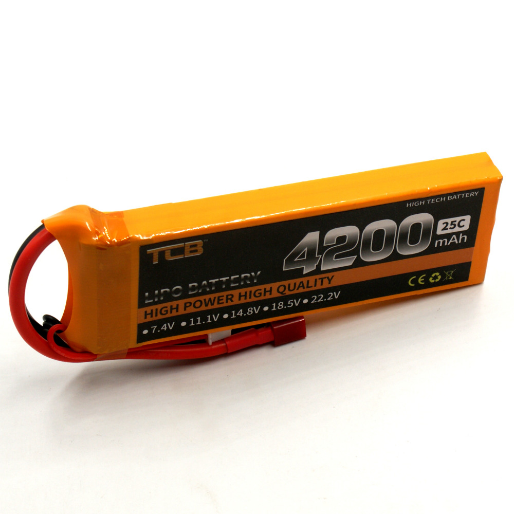 TCB RC lipo battery 7.4v 4200mAh 25C 2s for RC model aircraft airplane drone car boat high-power cell batteria 2s T/XT60 rc model 2s 3s 4s detect lipo battery low voltage alarm buzzer