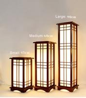 Modern Japanese Tatami Style Square Shape Oak Wood Solid Wooden Floor Lamp with E27 LED Warm White Light for Bedroom Living Room