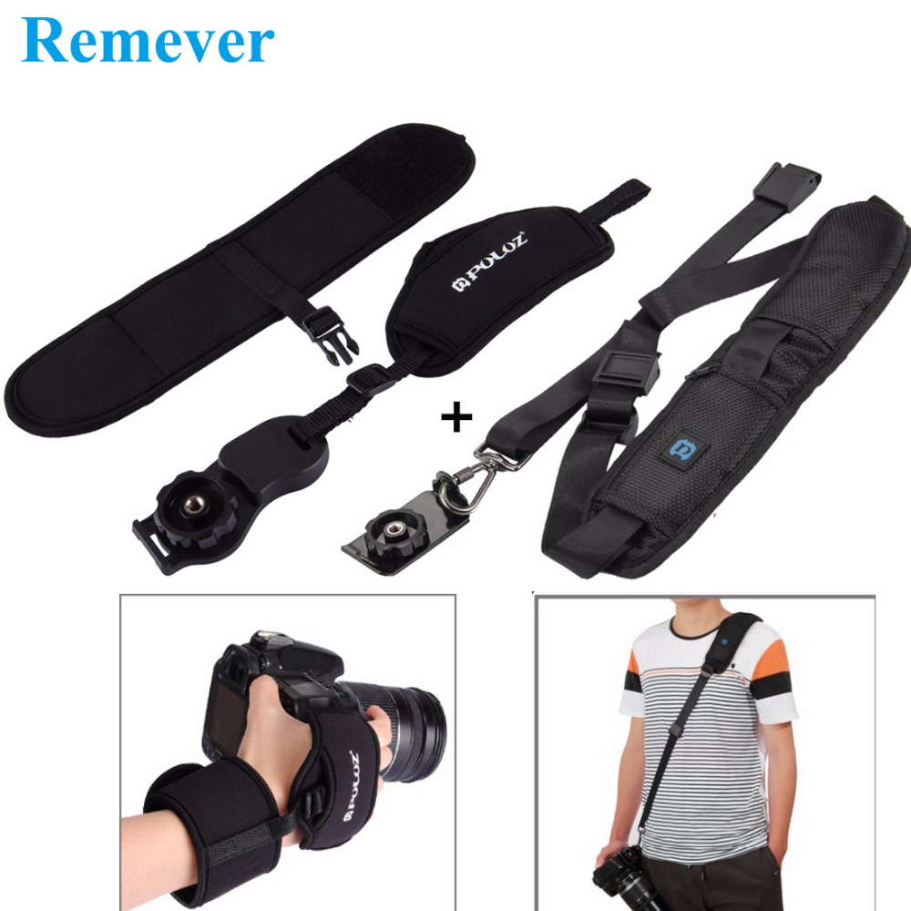 New Universal Camera Belt Shoulder Strap with 1/4inch Screw for Cameras + Wrist Strap for Cannon Nikon Sony DSLR Cameras