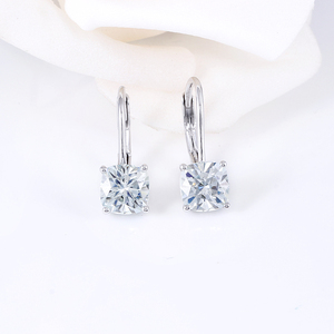 Image 3 - DovEggs Sterling Solid 925 Silver 2.00CTW 6mm Slight Blue Cushion Cut Moissanite Stone Hoop Earrings for Women Trendy Earrings