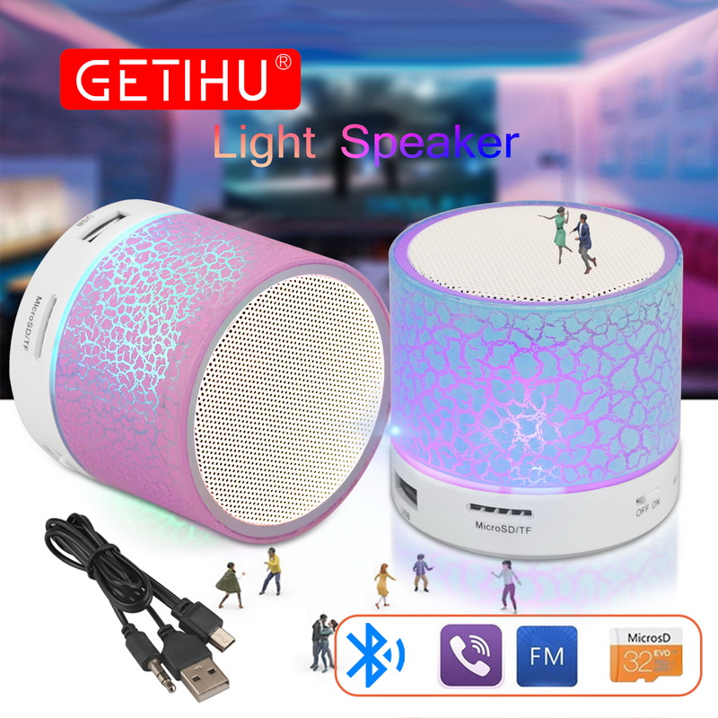 GETIHU Portable Mini Bluetooth Speakers Wireless Hands Free LED Speaker TF USB FM Sound Music For iPhone X Samsung Mobile Phone executive car