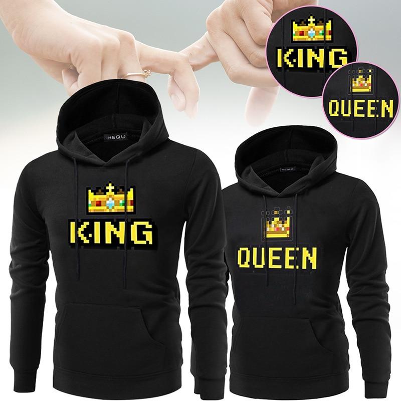 Casual KING Queen Crown Print Pocket Hoody Men Women Autumn Hoodies Slim Sweatshirt Couple Lovers Warm Hooded Pullovers Coat