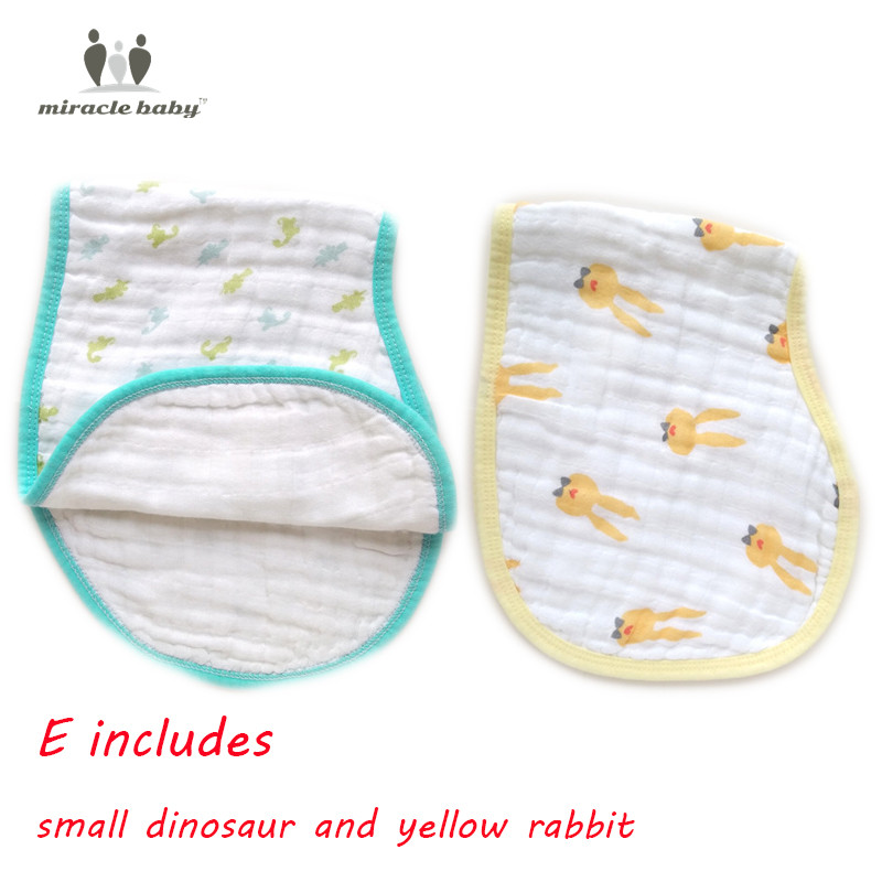 MIRACLE BABY 2 Pack 100% Cotton Muslin Burp Cloths carters Feeding Burpy Bibs kids Scarf Towel for Newborns Unisex