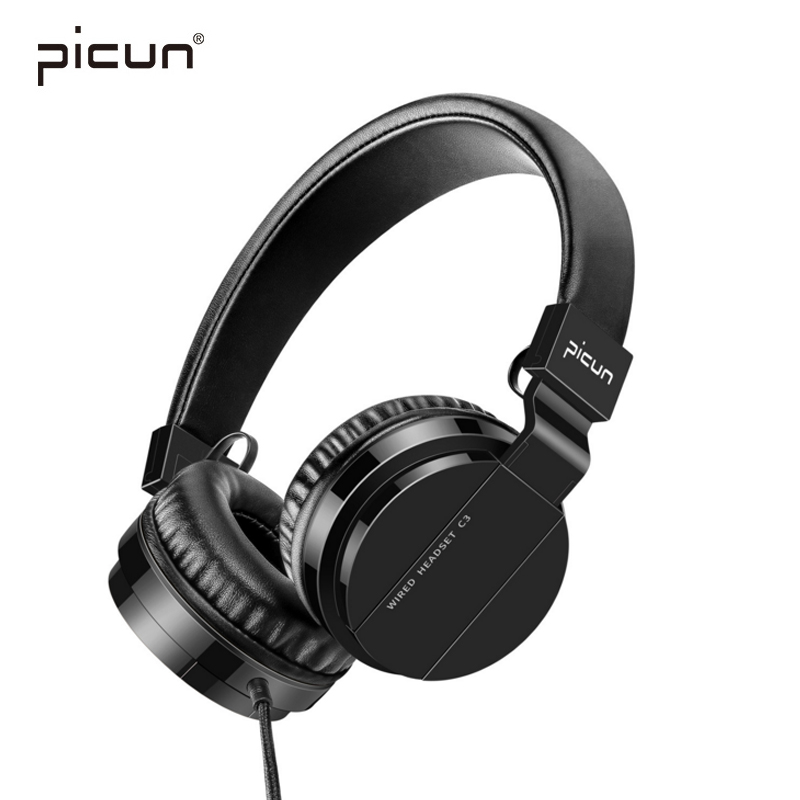 Picun Wired Headphones With Microphone Over Ear Headsets Bass HiFi Sound headphone Music Stereo Earphone For Xiaomi Computer PC