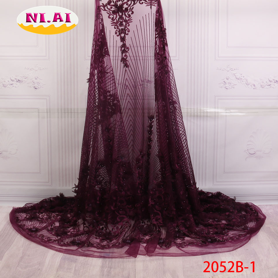 Best Selling French Voile Lace with Beads African Lace Fabric with 3D flower High Quality 2018