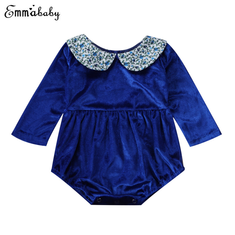Infant Baby Girl Clothes Princess Doll Callor Baby Long Sleeve Romper Royal Blue Velvet Jumpsuit Print Callor Outfit Clothes